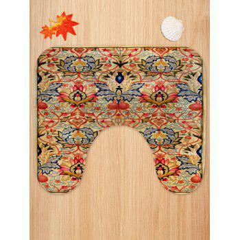 Vintage Floral Pattern 3 Pcs Toilet Mat Set - multicolor