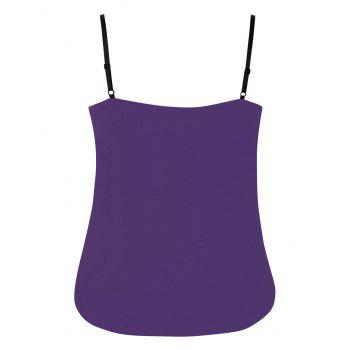 Plus Size Ruffle Trim Lace Up Tank Top - PURPLE IRIS 2X