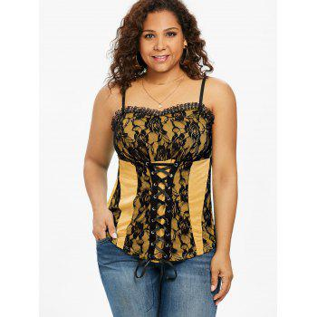 Plus Size Ruffle Trim Lace Up Tank Top - SUN YELLOW 2X