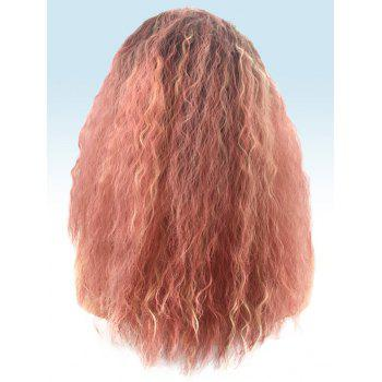 Long Middle Part Colormix Corn Hot Curly Synthetic Wig - multicolor