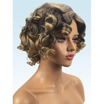 Short Inclined Bang Colormix Big Curly Synthetic Wig - multicolor