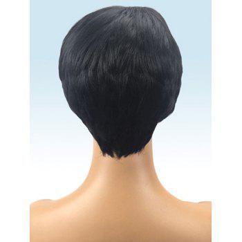 Short Highlighted Inclined Bang Straight Synthetic Wig - multicolor