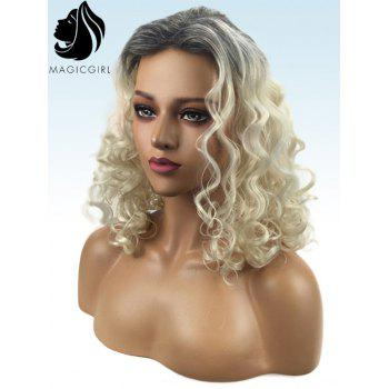 Long Inclined Fringe Curly Party Colormix Synthetic Wig - multicolor