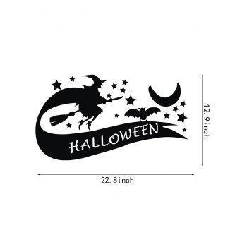 Halloween Witch Print Wall Art Stickers - BLACK
