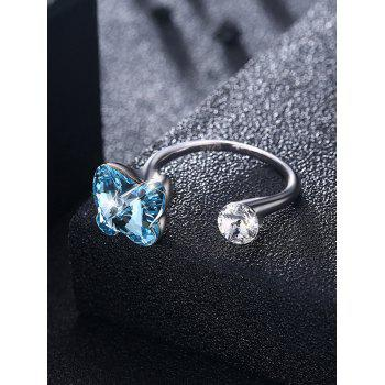 Shiny Rhinestone Inlaid Crystal Butterfly Cuff Ring - SKY BLUE ONE-SIZE