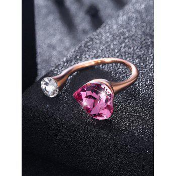 Vintage Rhinestone Inlaid Crystal Heart Cuff Ring - HOT PINK ONE-SIZE