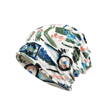 Lightweight Hand-painted Printed Slouch Beanie - ARMY GREEN