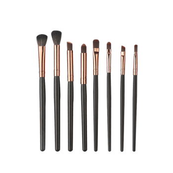 Professional 8Pcs Ultra Soft Fiber Hair Eye Makeup Brush Kit - COFFEE