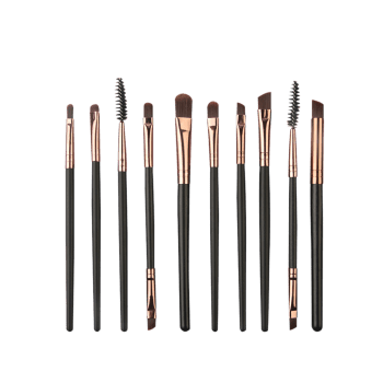 Set of 10Pcs Extra Soft Synthetic Fiber Hair Eye Makeup Brush Set - COFFEE