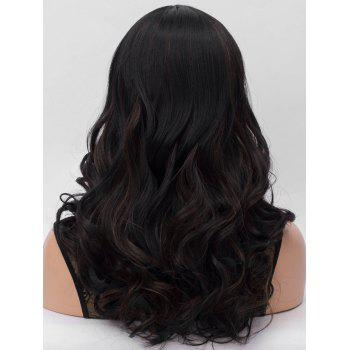 Long Center Parting Highlighted Wavy Synthetic Wig - multicolor