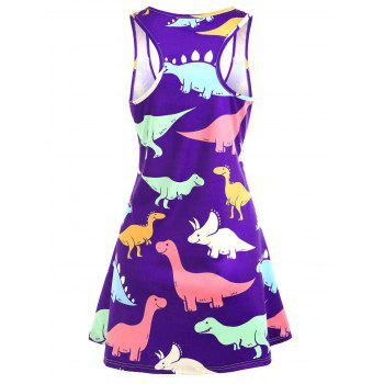 Plus Size Dinosaur Swing Dress - PURPLE 2X
