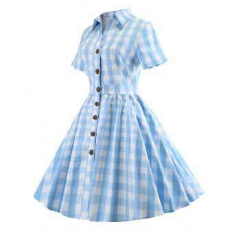 Plaid Short Sleeve A Line Dress - CRYSTAL BLUE M