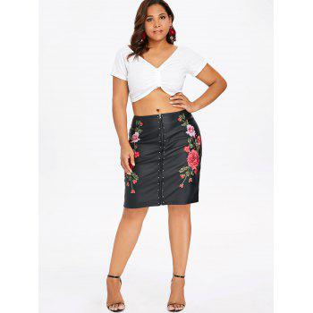 Plus Size Embroidery PU Leather Sheath Skirt - BLACK L