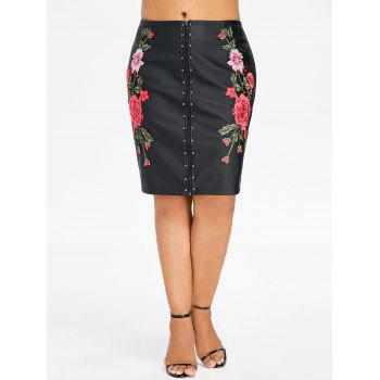 Plus Size Embroidery PU Leather Sheath Skirt - BLACK 3X