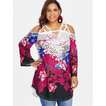 Plus Size Cutout Bell Sleeve T-shirt - multicolor 5X