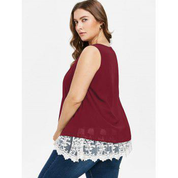 Plus Size Two Tone Scalloped Tank Top - RED WINE 4X