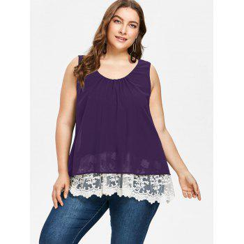 Plus Size Two Tone Scalloped Tank Top - PURPLE IRIS L