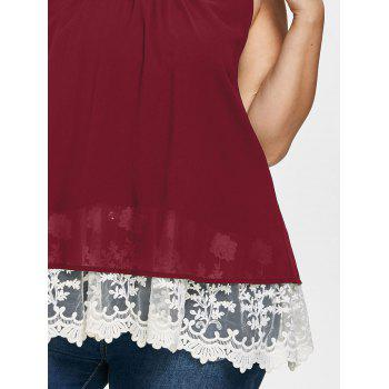 Plus Size Two Tone Scalloped Tank Top - RED WINE 3X