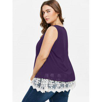 Plus Size Two Tone Scalloped Tank Top - PURPLE IRIS 2X