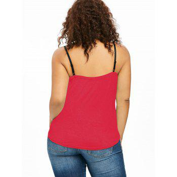 Plus Size Ruffle Trim Lace Up Tank Top - RED L