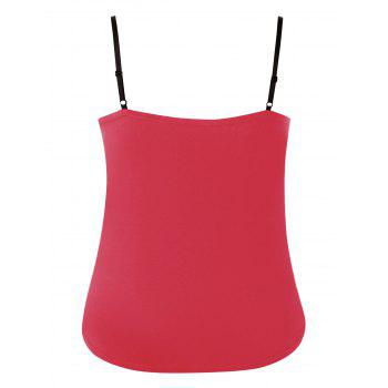 Plus Size Ruffle Trim Lace Up Tank Top - RED 1X