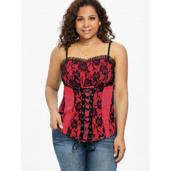 Plus Size Ruffle Trim Lace Up Tank Top - RED 3X