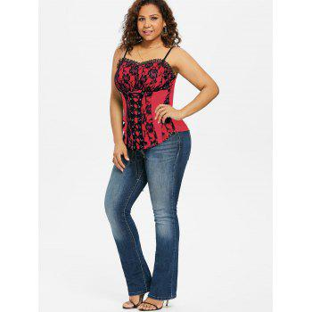 Plus Size Ruffle Trim Lace Up Tank Top - RED 4X