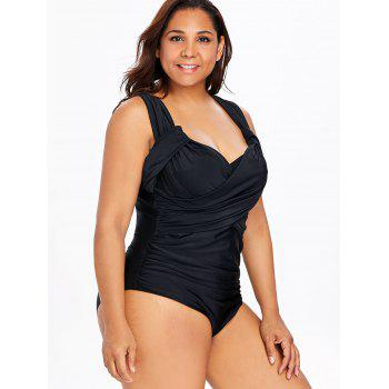 Back Criss Cross Plus Size Padded Swimwear - BLACK 1X