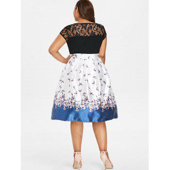 Plus Size Butterfly Print Knee Length Dress - multicolor 5X