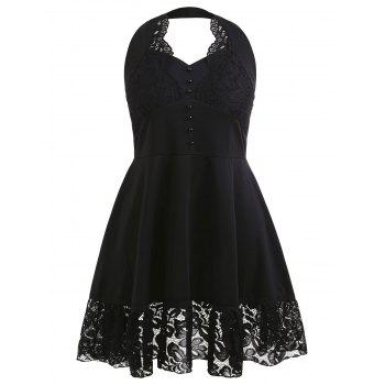 Halter Neck Lace Panel Plus Size Vintage Dress - BLACK 1X