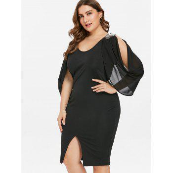 Scoop Neck Plus Size Front Slit Dress - BLACK 1X