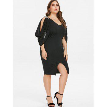 Scoop Neck Plus Size Front Slit Dress - BLACK 4X