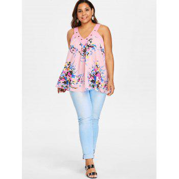 V Neck Plus Size Floral Print Tank Top - LIGHT PINK 1X
