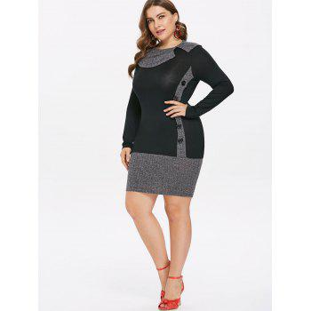 Plus Size Ribbed Long Sleeve Fitted Dress - BLACK 1X