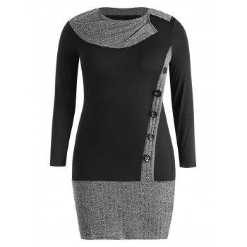 Plus Size Ribbed Long Sleeve Fitted Dress - BLACK 3X