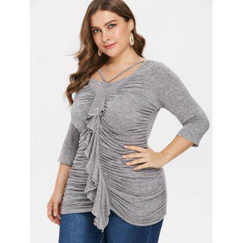 Plus Size Square Neck Ruched T-shirt - GRAY 1X