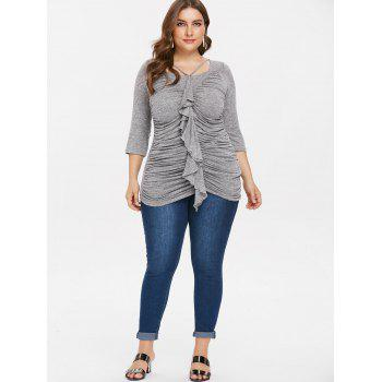 Plus Size Square Neck Ruched T-shirt - GRAY 2X