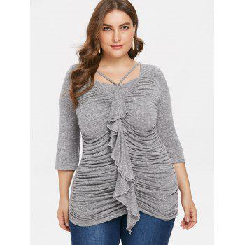 Plus Size Square Neck Ruched T-shirt - GRAY 3X