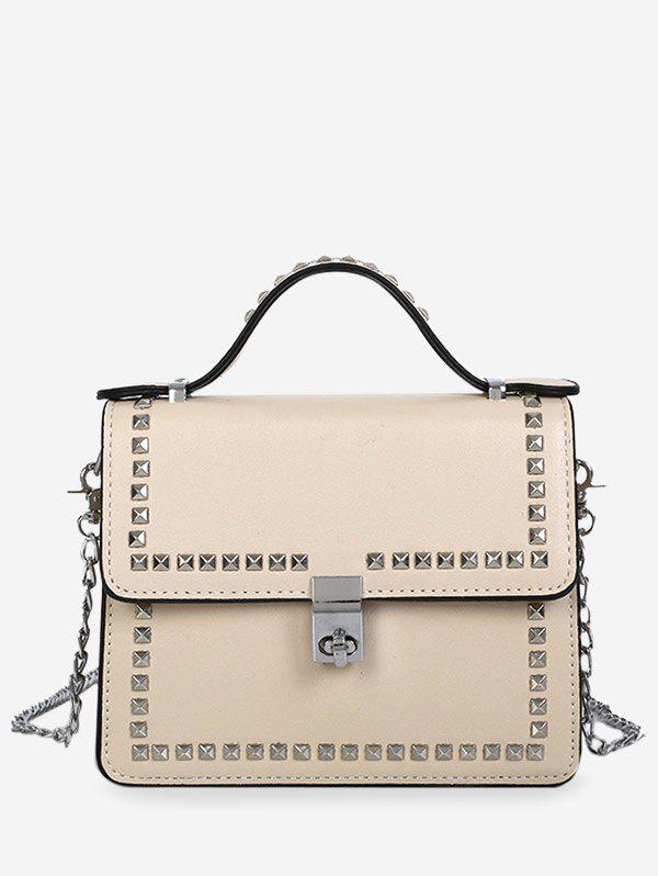 Flapped Studs Chic Top Handle Sling Bag - BEIGE