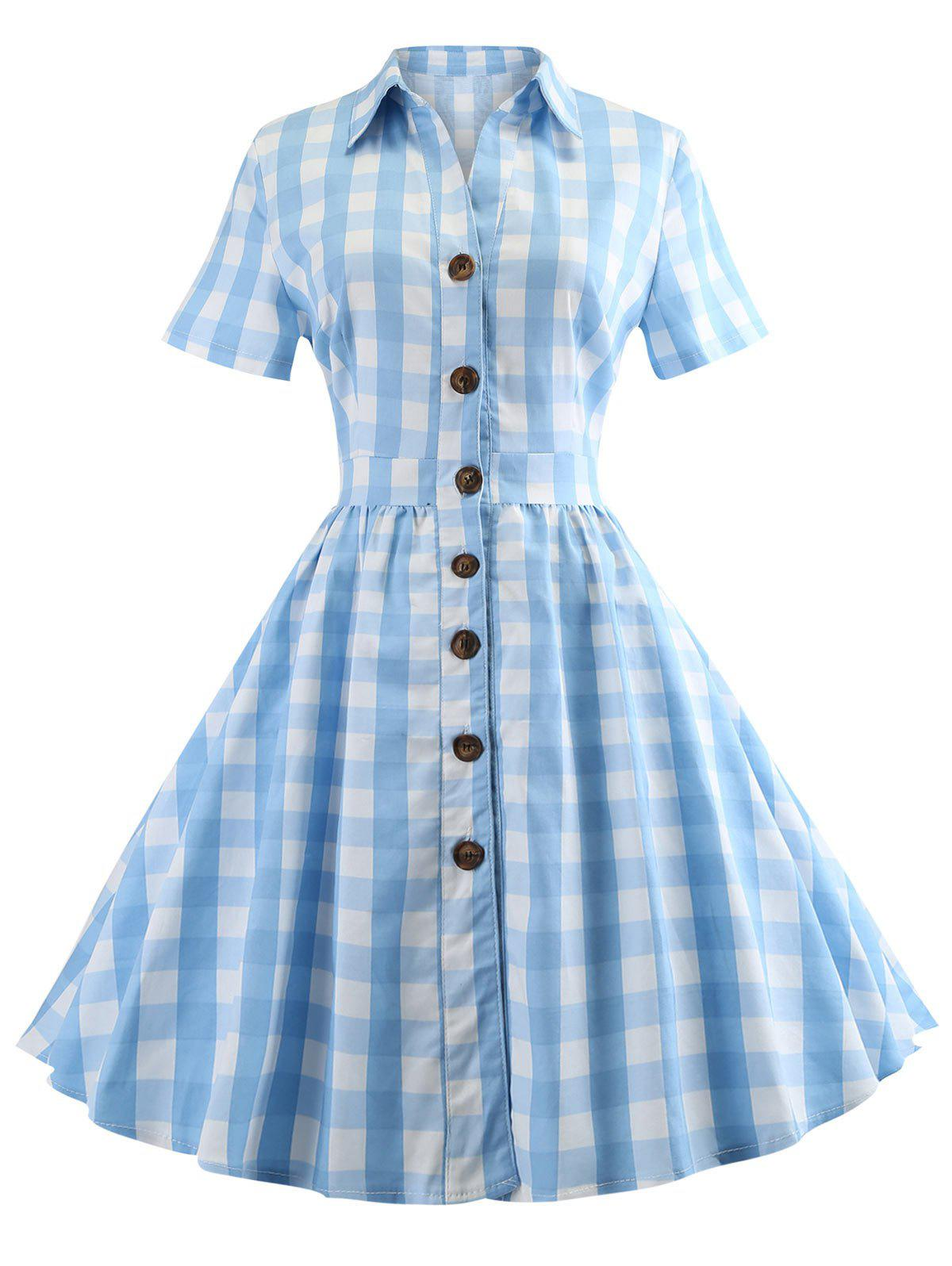 Plaid Short Sleeve A Line Dress - CRYSTAL BLUE L