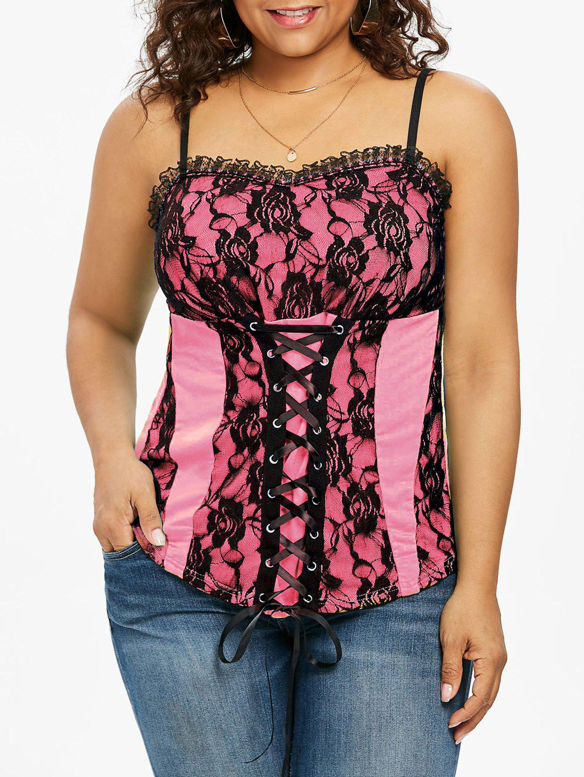 Plus Size Ruffle Trim Lace Up Tank Top - LIGHT PINK 2X
