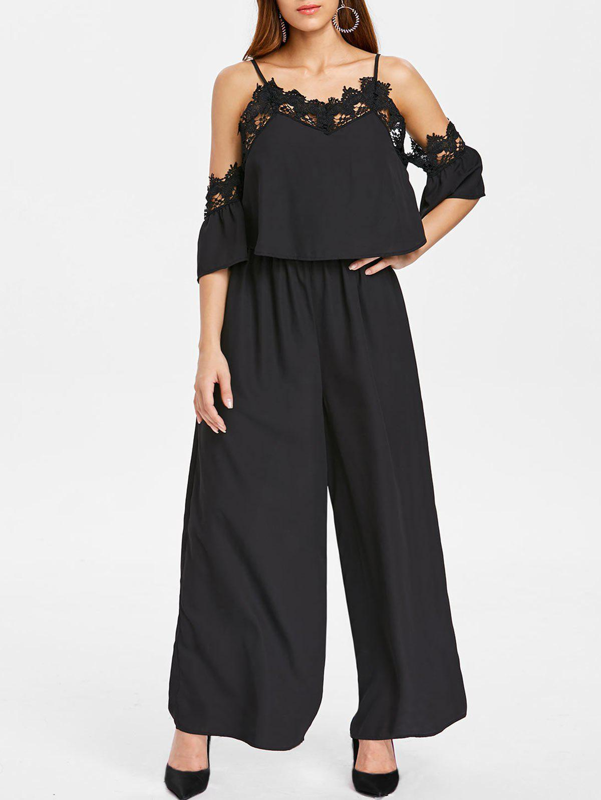 Open Shoulder Lace Insert Palazzo Jumpsuit - BLACK L