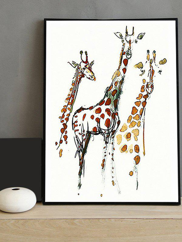 2018 Giraffe Print Framed Canvas Painting multicolor INCH In Canvas ...
