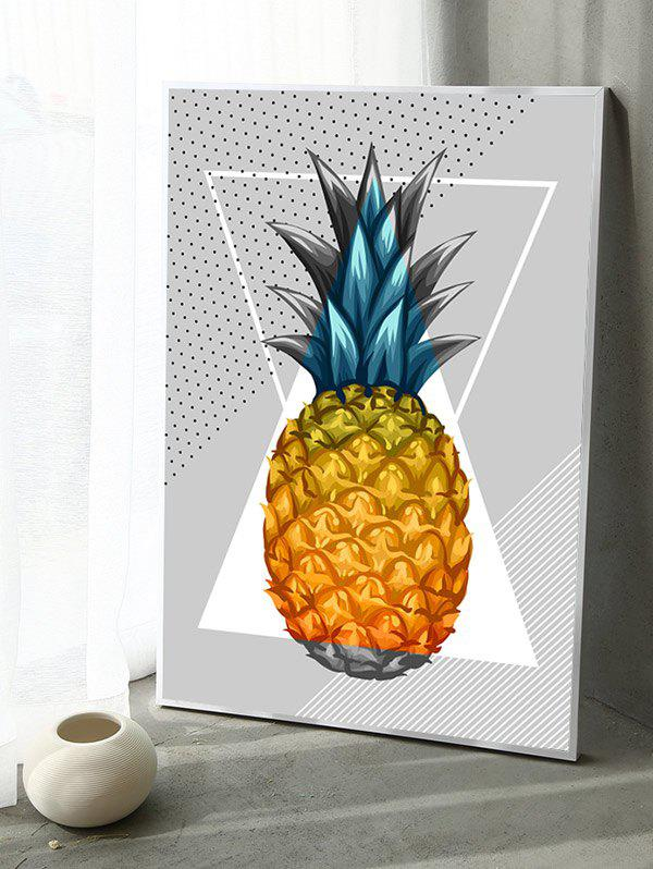 2018 Pineapple Print Framed Canvas Painting multicolor INCH In ...