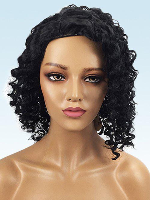 Medium Inclined Bang Deep Wave Capless Synthetic Wig - BLACK