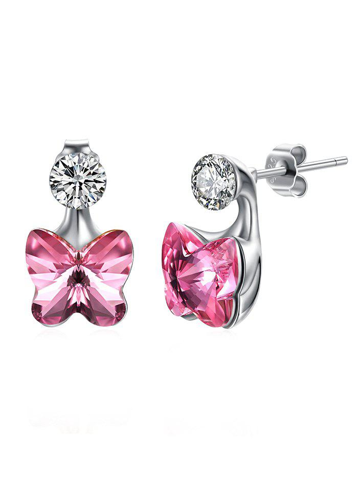 Pair of Crystal Butterfly Rhinestone Stud Earrings, Hot pink