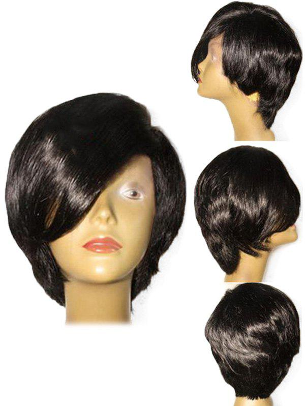 Short Side Parting Straight Style Heat Resistant Synthetic Wig - BLACK