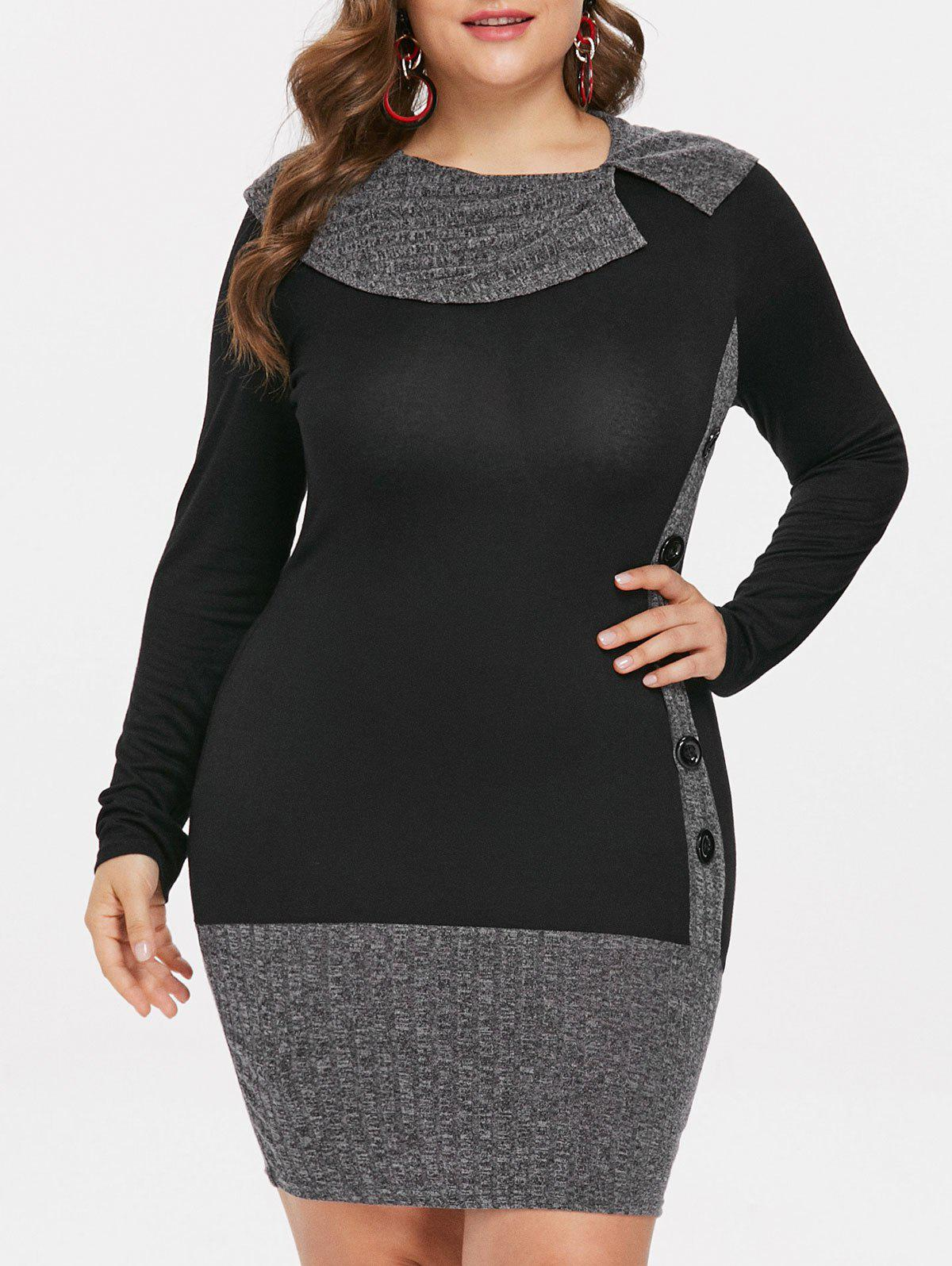 Plus Size Ribbed Long Sleeve Fitted Dress - BLACK L
