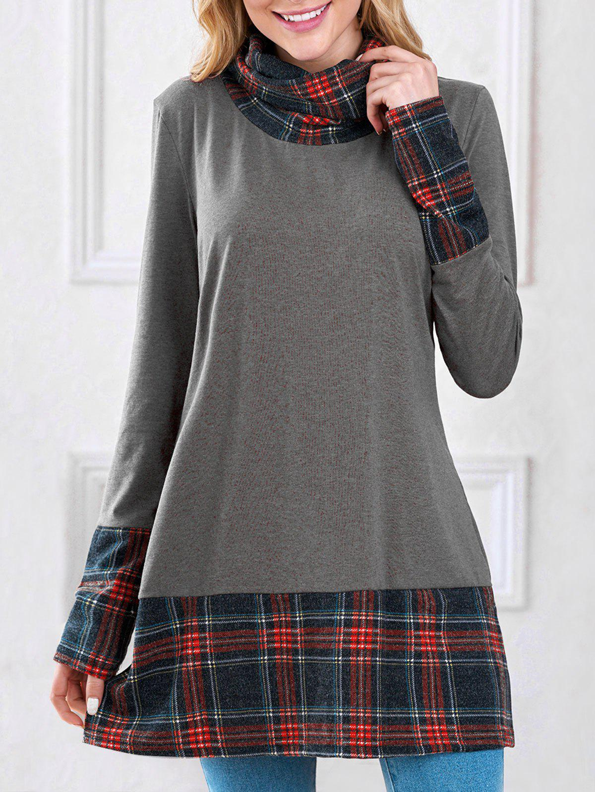 Long Sleeve Plaid Insert Sweatshirt - GRAY M