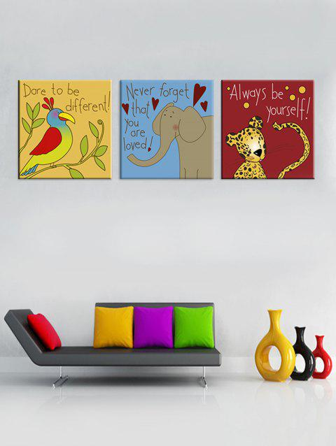 Funny Letter Animals Print Split Canvas Paintings - multicolor 3PCS:20*20 INCH( NO FRAME )